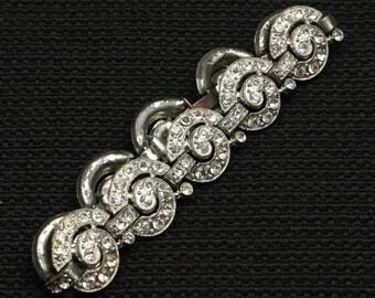 "1940's-50's Breathtaking Rhodium Plated, Rhinestone Art Deco Bracelet, 71/2"" L by 5/8"" W, Gorgeous Spiral Design w Hidden Fold Over Clasp."