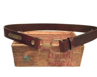 Leather Belt w Brass Harness Ring and Civil War Hook