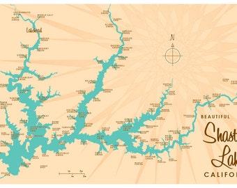 Shasta Lake, CA Map Print