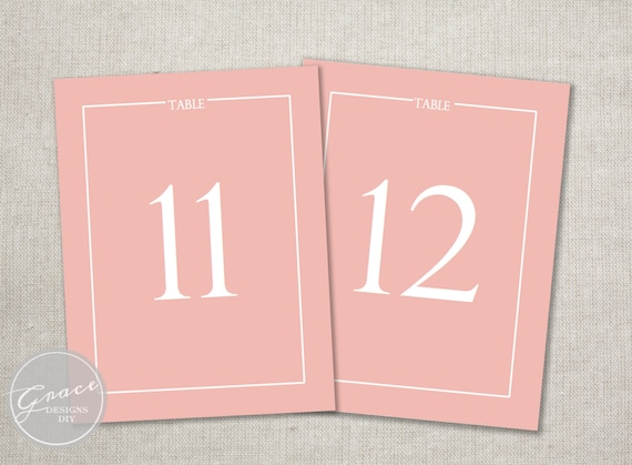 Coral pink table number template modern and by for Table coral sample