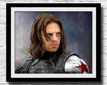 Winter Soldier Digital Painting Print, Bucky Barnes, Sebastian Stan