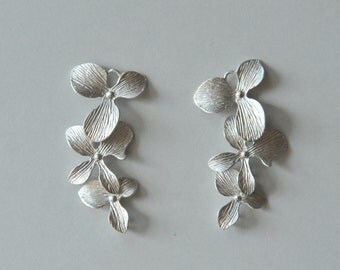 Rhodium Plated Orchids, Cascading Orchids, 2 Pieces, Silver Orchids, Cascading Flowers, 35x15 mm, Orchid Connector, Fast Shipping from USA