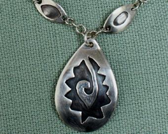 Statement Aztec Style Silver Pendant Necklace