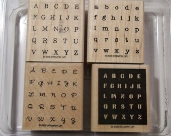 Stampin' Up! ALPHABITS Set of 4 New Wood-Mounted Rubber Stamps, Never Used, Alphabet Letters