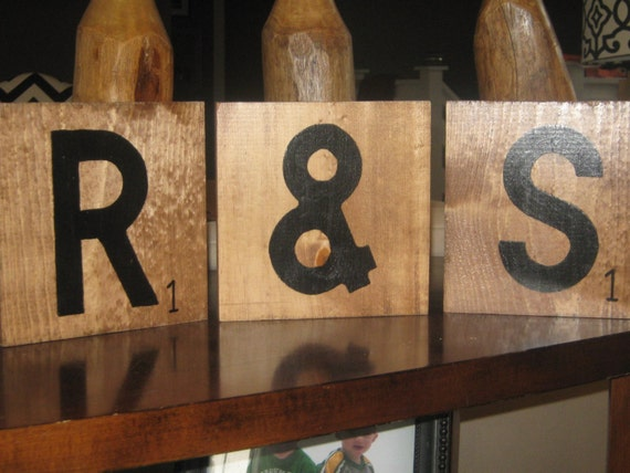 Large Scrabble Tiles, set of 3, you pick.  Wood, stained and hand painted.  7.25 x 7.25 in.
