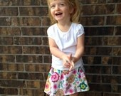 Spring, Easter, Flower Handmade toddler flower print elastic skirt