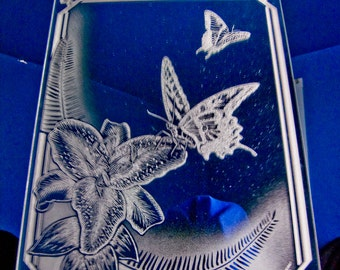 Tiger Swallow Butterfly with Lilly Etched Mirror