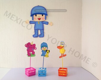 Pocoyo- Party Combo - EvaFoam - 1 Wall Decor , 12 Favor Bags and 12 Centerpiece picks Ideal for party decoration, or wall decoration