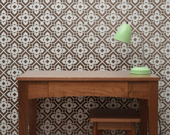 DIAMOND LATTICE All over Wallpaper Stencil / Reusable Stencil / DIY / Home Decor / Interiors / Feature Wall / Wallpaper alternative