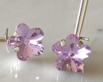 Swarovski Violet Crystal Flower Drop Earrings, Silver