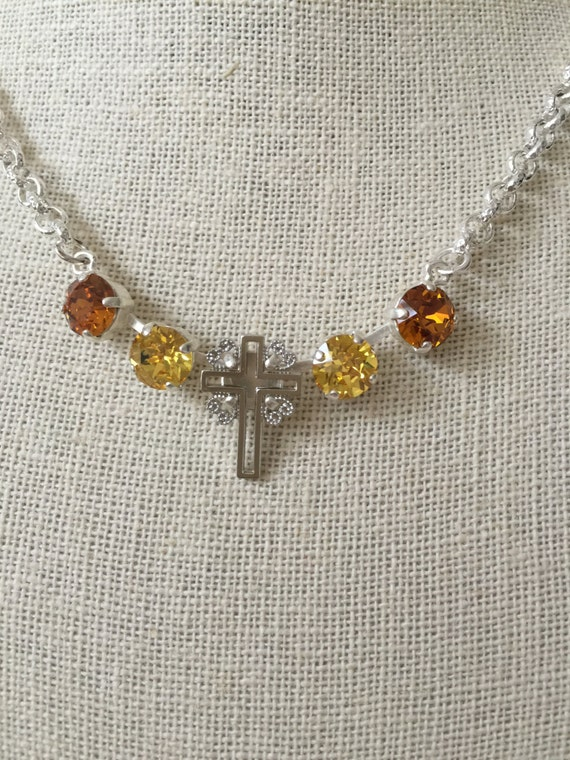 Filigree Cross Necklace with Topaz & Light Topaz Crystals