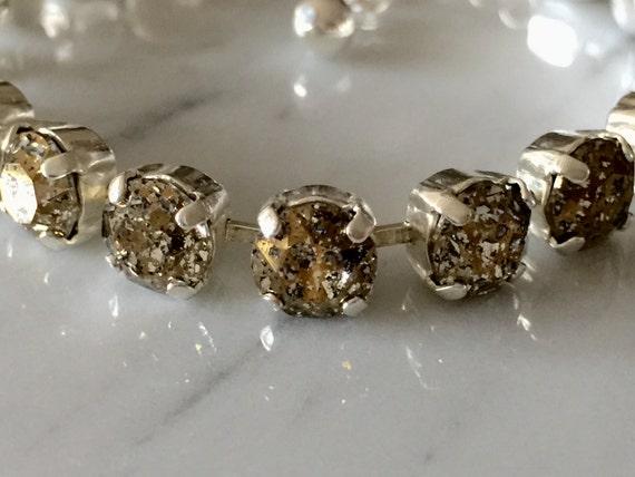Swarovski Gold Patina Crystal Bracelet, Gold Crystal Bracelet, Crystal Tennis Bracelet, Gold Patina Bracelet