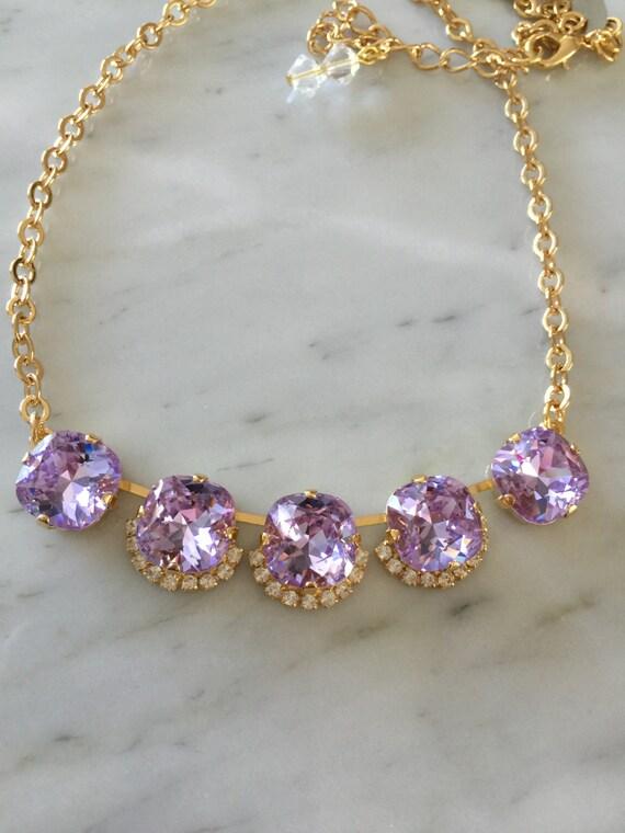 Violet Purple Crystal Bridal, Bridesmaid, Cocktail Necklace