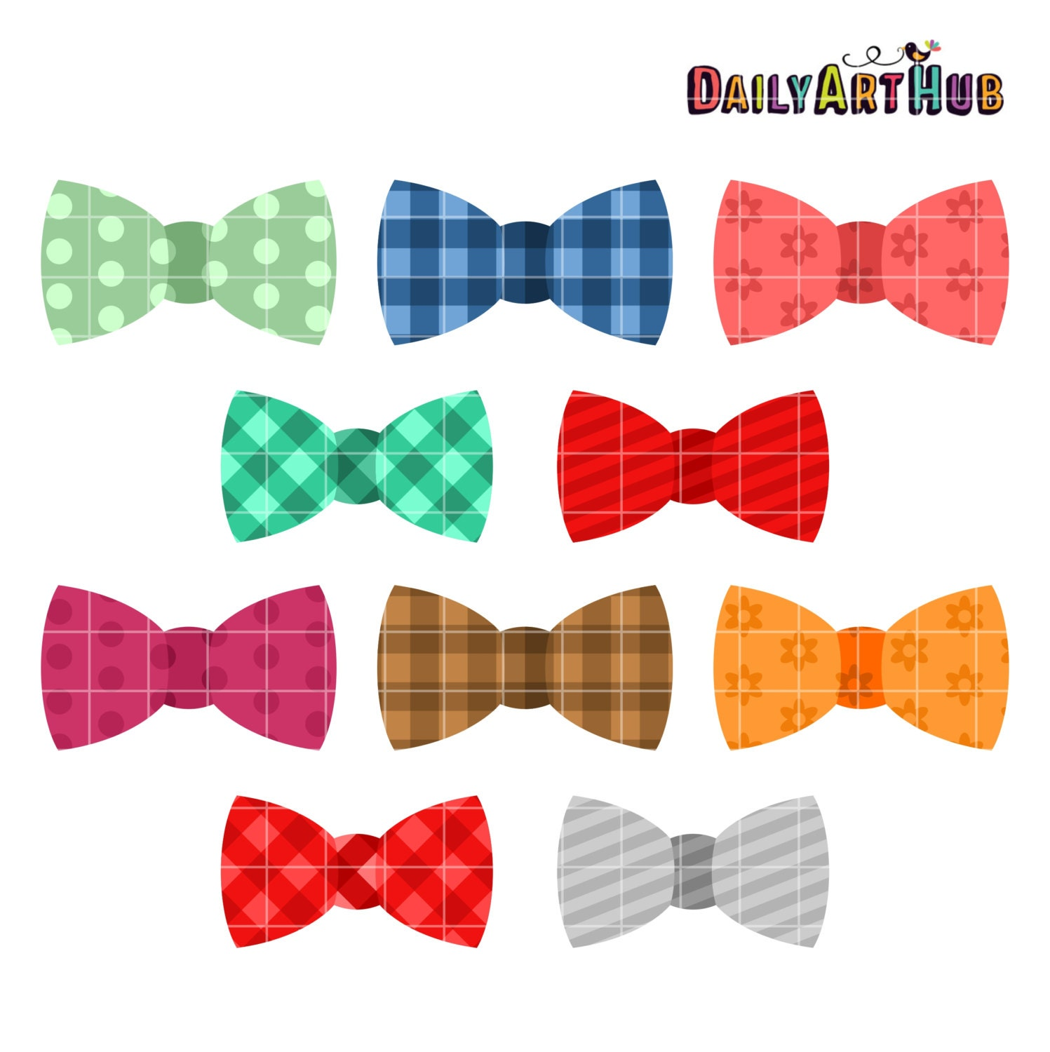Bow Ties Digital Clip Art For Scrapbooking Card By DailyArtHub