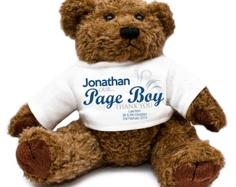 Personalized Page Boy Wedding Teddy Bear - Gift Thank You Present Keepsake Blue Celebration Special Day
