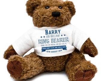Personalized Ring Bearer Wedding Teddy Bear - Gift Thank You Present Keepsake Blue Celebration Special Day