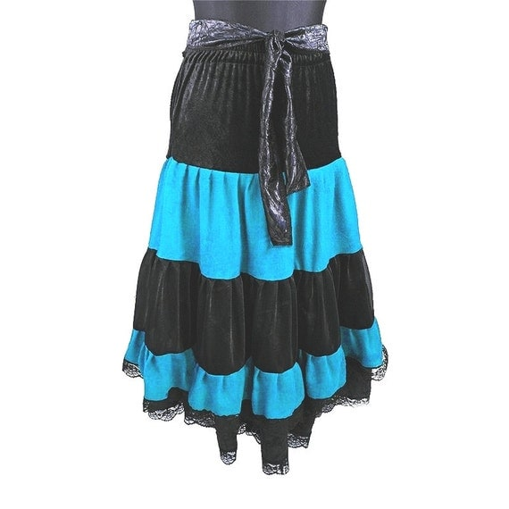 items similar to black and turquoise maxi skirt