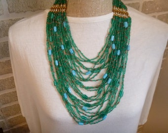 teal seed bead layered necklace