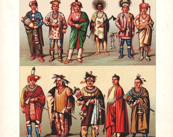 Antique Color Lithographs 1800s Ethnic America Mexico Imp. Firmin Didot Paris Tribal Costumes Home Decor Art Set of 3