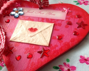 Wooden Hanging Love Heart Valentines Gift Heart Ornament Love Ornament Love Letter Red Heart Pink Heart Red Check Ribbon Heart Hanging