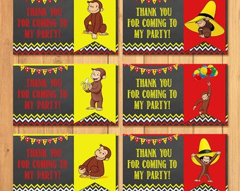 Curious George Party Tags Chalkboard * Curious George Birthday * Curious George Party Tags * Curious George Favors