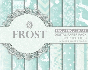 Blue Christmas Frost Digital Paper Pack Instant Download Winter Let It Snow New Year Chevron Snowfake Reindeer Christmas Tree 6x6 inches