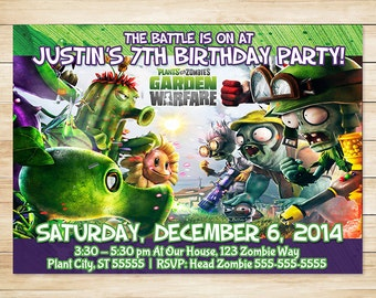 Plants Vs Zombies Invitation and Thank You Card // Plants Vs Zombies Birthday Party Invites