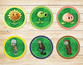 Printable Plants vs Zombies Cupcake Toppers Original // Plants vs Zombies Stickers // Plants vs Zombies Party // Plants vs ZombiesFavors PVZ