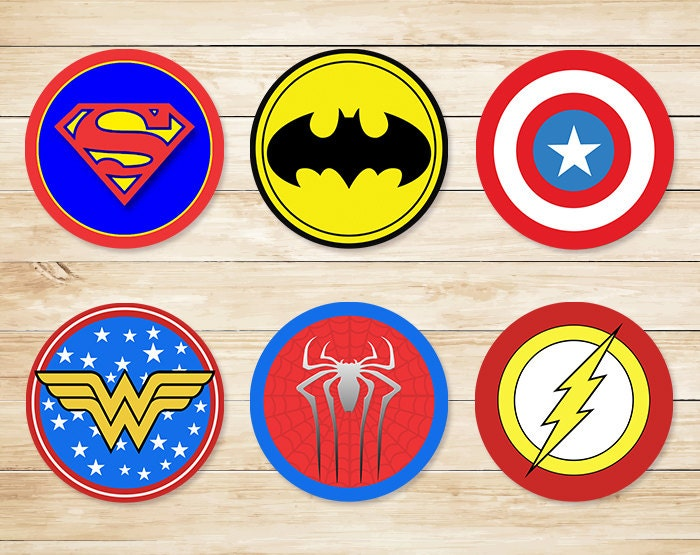 It is a graphic of Delicate Superhero Logos Printable