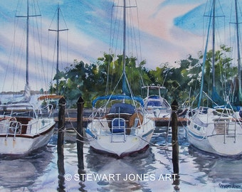 Sailboats At Safety Harbor, Original Watercolor Painting, Seascape, landscape with boat