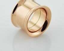 Rose Gold PVD Stainless Steel Internally Threaded Screw Fit Double Flared Eyelet Flesh Tunnels Ear Plug