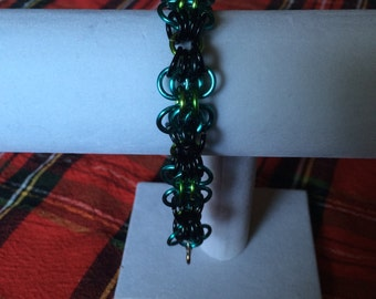 Blue, Green, and Black Butterfly Bracelet