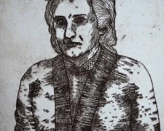 Rose, engraving
