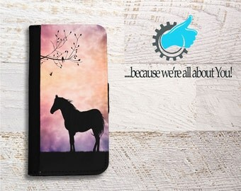 Horse Samsung Wallet Phone Case custom Horse phone case for Samsung Galaxy S5 S6 S6 S7 S8 Edge Neo and Plus Can add initials, or Name!