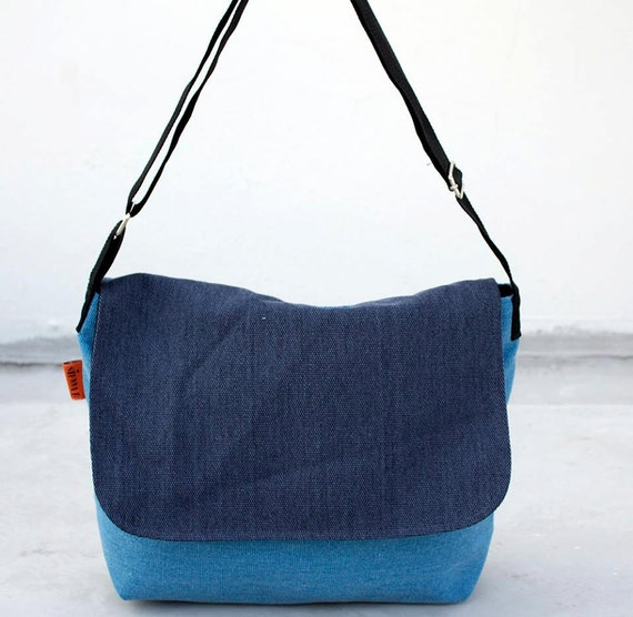Canvas bag yellow two tone blue - navy blue shoulder bag - Canvas ...