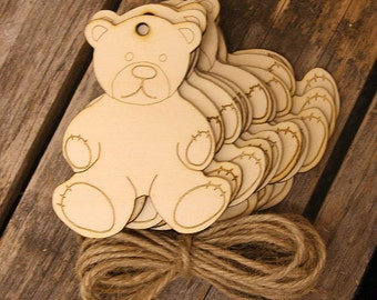 10 x Wooden Teddy Bear Shapes 3mm Ply with Detail