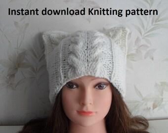 Instant Download knitting pattern/ Cat hat knitting pattern