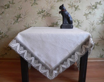 Natural linen tablecloth gray handmade with white-gray lace/table runner/table cover 115x115 cm