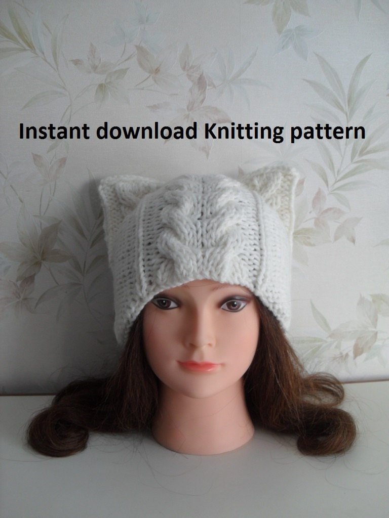 Download Knitting Pattern : Instant Download knitting pattern/ Cat hat knitting pattern