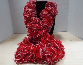 Crochet Ruffled Scarf, Handmade Christmas Red and Lacy Silver Accent Winter / Warm Scarf, Valentine's Day Scarf