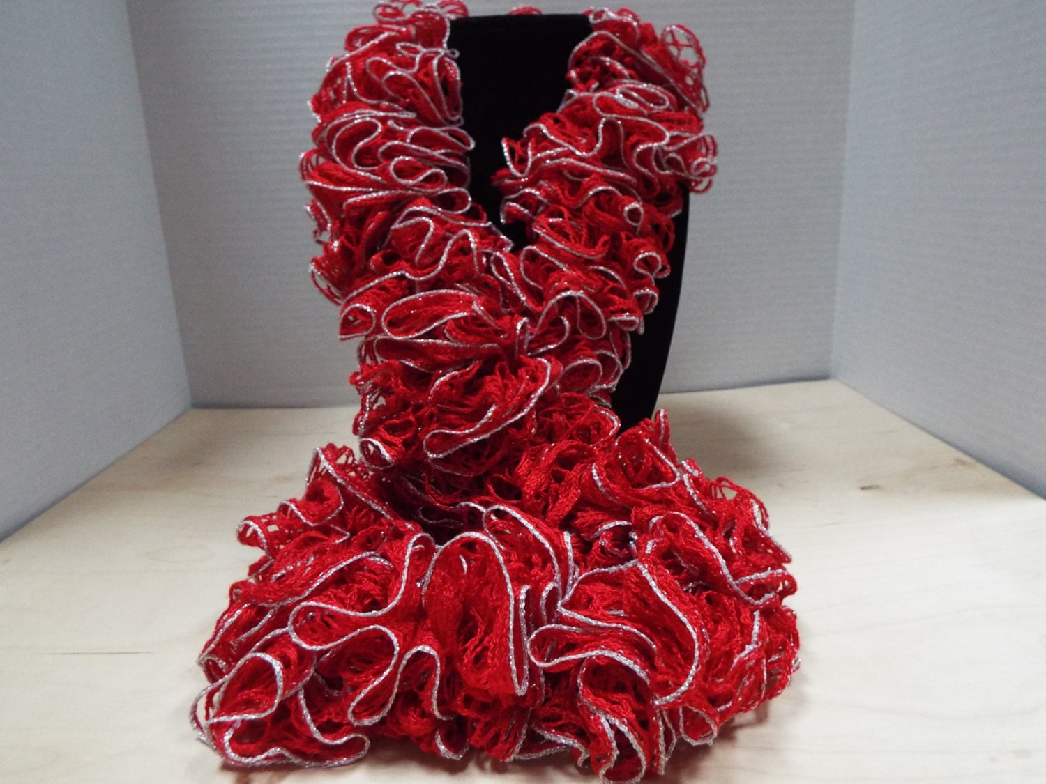Crochet ruffled scarf handmade christmas red and lacy silver