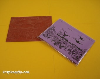 Bird Field ATC / Invoke Arts Collage Rubber Stamps / Unmounted Stamp