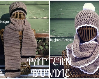 Crochet Pattern Bundle: Women's and Men's Chunky Scarf & Hat Sets Instant Download PDF Patterns written in U.S. Terms