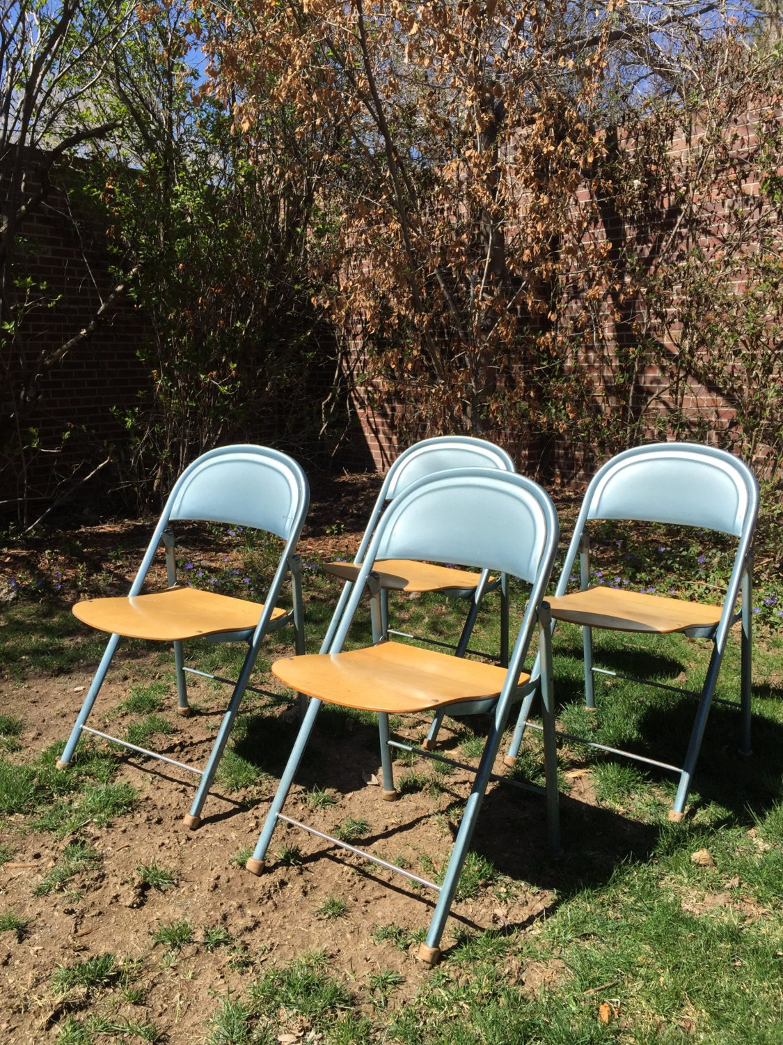 Vintage ~ American Seating Company ~ Blue Metal Folding Chair W/ Wood Seat  ~ Collapsible ~ USA Made ~ Set Of Four