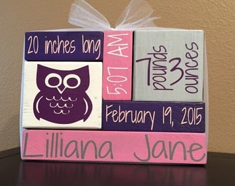Custom / Personalized Wood Block Home Decor - Newborn Baby Stat Blocks - {baby shower, nursery, baby decor}