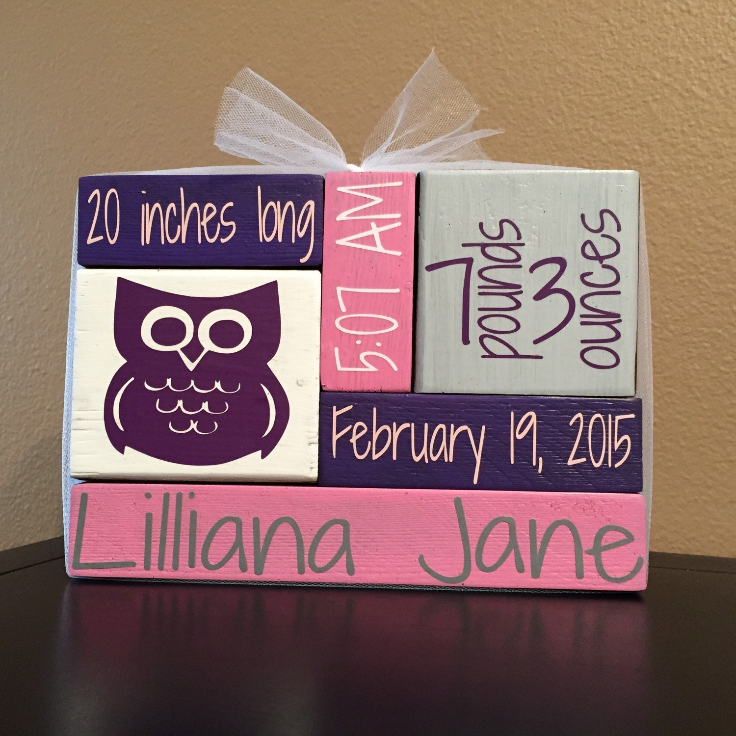 Custom Personalized Wood Block Home Decor Newborn Baby