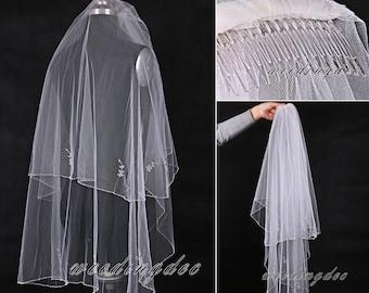 Fingertip length bridal veil with comb,White/Ivory beaded veil,Handmade 2 layer veil,Tulle veil,Drop viel,Circle veil,Bridal accessory