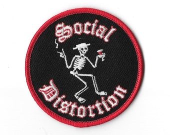 Social Distortion Skeleton Martini Embroidered Patch, Iron On Applique,