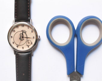 Vintage Style Watch,Leather Band Wrist watch, Vintage bicycle