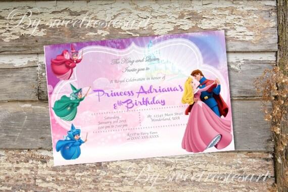 invitation anniversaire princesse aurora fille belle au bois. Black Bedroom Furniture Sets. Home Design Ideas